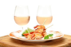 Fried King Prawns Served in Plate Stock Images