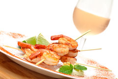 Fried King Prawns Served in Plate Royalty Free Stock Image