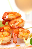 Fried King Prawns Served in Plate Royalty Free Stock Photos