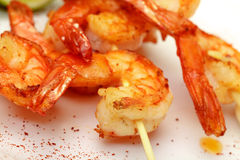 Fried King Prawns Served in Plate Royalty Free Stock Images