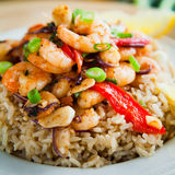 Fried  king prawns vegetable brown rice Stock Photography
