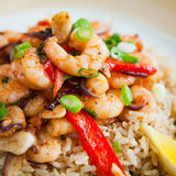 Fried  king prawns vegetable brown rice Stock Photos