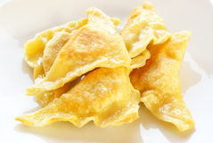 Fried kreplach - Jewish ravioli Stock Photo