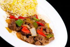 Fried Lamb with onions and bell pepper Stock Images