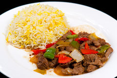 Fried Lamb with onions and bell pepper Stock Photos