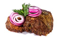 Fried liver with onions Royalty Free Stock Photos