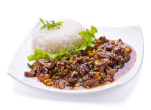 Fried liver with vegetable Royalty Free Stock Photography
