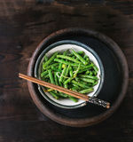 Fried long beans stock photography