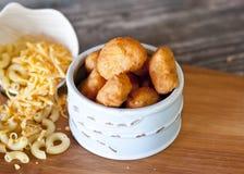 Fried Macaroni e formaggio Fotografia Stock Libera da Diritti