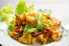 Fried macaroni with pork Stock Photo