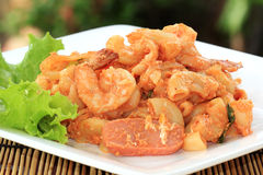 Fried Macaroni with shrimps Royalty Free Stock Images