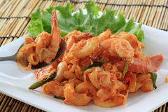 Fried Macaroni with shrimps Stock Images