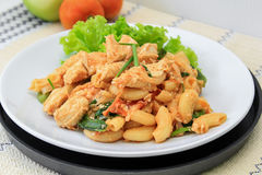 Fried Macaroni With Chicken Stock Photo