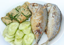 Fried Mackerel. Fried Mackerel with Acacia Pennata Omelette and cucumber Stock Images