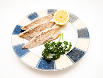 Fried mackerel filet Stock Photo