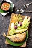 Fried Mackerel Fish,chili Sauce Royalty Free Stock Photo