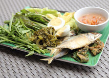 Fried Mackerel fish,chili sauce and fried vegetable Royalty Free Stock Image