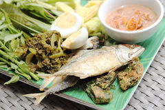 Fried Mackerel fish,chili sauce and fried vegetable Stock Photo