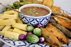 Fried Mackerel fish chili sauce  vegetable  Thai food Stock Image