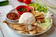 Fried mackerel fish rice. With sambal, popular traditional Malay or Indonesian local food royalty free stock photos