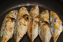 Fried mackerel on pan Royalty Free Stock Photos