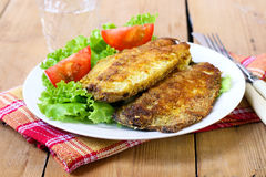 Fried mackerel on plate Royalty Free Stock Photos