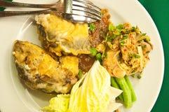 Fried mackerel and rice-thai cuisine-namprik pla tu Stock Photos