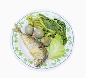 Fried mackerel with shrimp paste sauce in dish isolated on white Stock Image