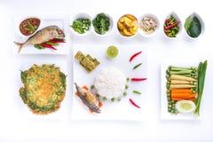 Fried mackerel with shrimp paste sauce ,nam prik pla too Stock Photos