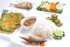 Fried mackerel with shrimp paste sauce ,nam prik pla too Royalty Free Stock Images