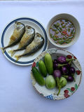 Fried mackerel with shrimp paste sauce. And some vegetables Stock Photos