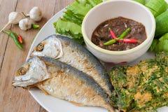 Fried mackerel with shrimp paste sauce. And various vegetables  (Nam Prik Ka Pi), Thai Food Stock Image