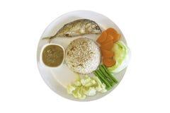Fried mackerel with shrimp stock images