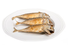 Fried Mackerel. On white background Royalty Free Stock Images