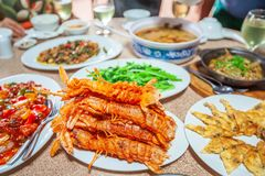Fried Mantis shrimp and other seafood. Khmer style. royalty free stock photos