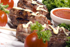 Fried meat. Served with tomato sauce and salad royalty free stock images