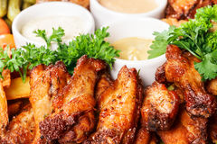 Fried meat of chicken with sauce Stock Photography