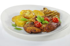 Fried meat and chips Stock Photo