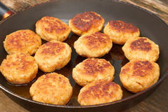 Fried meat cutlets on a pan Stock Photography
