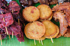 Fried meat food. At a local market in thailand royalty free stock image