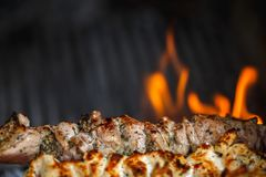 Fried meat on the grill with fire stock image