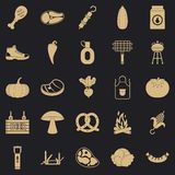 Fried meat icons set, simple style royalty free illustration