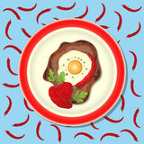 Fried meat with ketchup, chili and parsley on the plate. Blue background with pattern Stock Photography