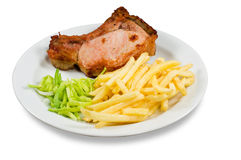 Fried meat and potato-fri Royalty Free Stock Photo