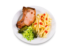 Fried meat and potato-fri Stock Photo