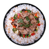 Fried meat with rice Royalty Free Stock Images