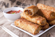 Fried meat rolls Stock Photos