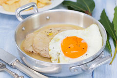 Fried meat with sauce and fried egg Royalty Free Stock Images