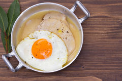 Fried meat with sauce and fried egg in dish Stock Photo