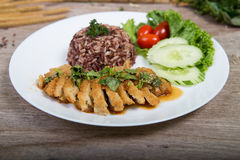 Fried meat serve with white rice Royalty Free Stock Photography